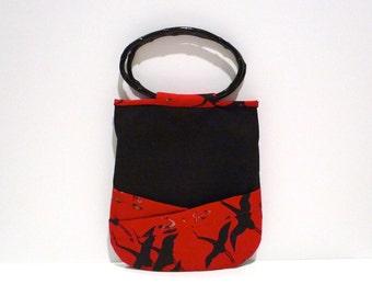 Japanese Crane Handbag Vintage Bamboo Handle Small Tote Bag Black and Red Asian Purse 1990s Japan Inspired Top Handle Bag