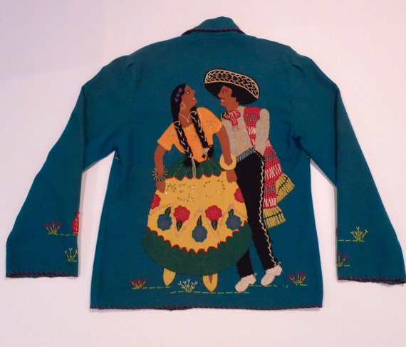 Mexican Tourist Jacket Vintage 1940s 50's Dancing Couple Embroidered By Mikes Blue Souvenir Jacket Landscape Sleeping on Cactus Pottery Jugs