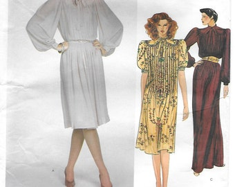 Vogue American Designer 2849 Albert Nipon 80s Flared Pullover Dress Sewing Pattern Size 16 Bust 38