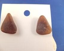 Amber beach glass triangle stud post earrings medium brown is the new black