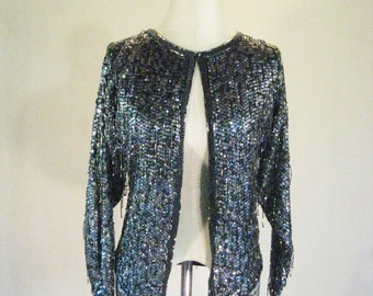 Diva Fringe Sequin Rainbow Fish Cardigan Jacket Top Glam
