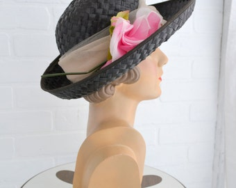 1960s Genevieve Black Straw Hat with Pink Rose