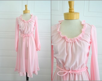 1970s Pink Ruffles Dress