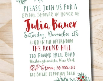 Christmas Winter Floral Pine Bridal Shower Baby Shower Couples Shower Invitation - Printable digital file or printed invitations