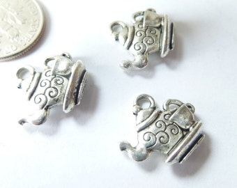 3-Fancy Silver Tea pot with Cup Charms Pendants Dangles 14 x 15mm