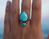 Turquoise Ring Size 8 | Sterling Silver Ring | Turquoise Statement Ring | Mermaid Jewelry