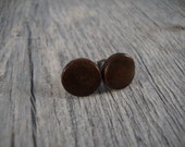 Wooden Stud / Post Earrings - Black Walnut Wood - Dark Brown - Hypoallergenic - Wood Earrings