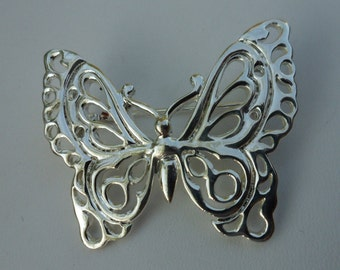 Butterfly Pin! Silver Plated Butterfly! Beautiful Vintage Brooch! Looks New! Filigree Butterfly! Very Pretty Pin! Rare Find! On Sale Now!