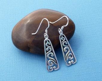 Sterling Silver Dangle Earrings,  Scroll Sterling Silver Earrings, Sterling Silver Earrings, Filigree Sterling Silver Earrings, Bar Earrings