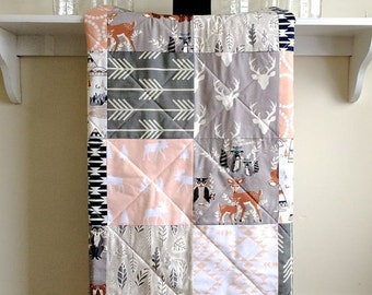 Woodland Baby Quilt,  Girl - Hello Bear Peach - Modern Crib, Nature, Rustic, Fox, Deer, Owl, Moose, Antlers, Gray, Peach, Coral, Navy, White