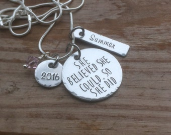 Hand stamped inspirational necklace, she believed she could so she did, graduation, personalized, unique