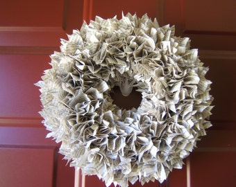 Book Upcycled Paper Wreath 10""