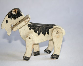 Vintage Folk Art Wood Goat