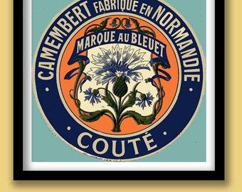 Vintage French Cheese Label Print . Art Nouveau Cornflower. 30x30 cm Poster
