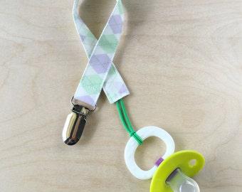 Pacifier Clip - Lavender Green Argyle