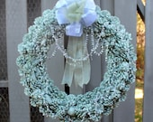 Sage Green Pinecone Wreath, Glittered Holiday Wreath, Silver/Crystal Garland, Sheer Silver Ribbon with Green Accents