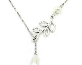 Sweet Pearl and Tree Branch Lariat Necklace - Nature Pendant - Leaves Leaf Necklace - Bridesmaid Gift - GlazedBlackCherry