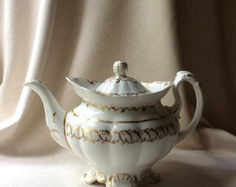 Antique LARGE Staffordshire Tea Pot - English 19th Century China - Important Diplay Piece-Cozy Cottage Antiques