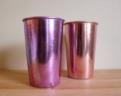 Vintage Anodized Aluminum Cups in Pink and Purple by Betson's