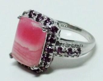 Argentinian Rhodochrosite, Orrisa Rhodolite Garnet, Diamond Ring