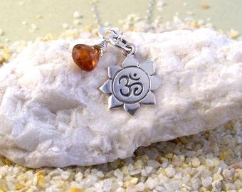 Sterling Silver 'Om Lotus' & Spessanite Garnet Necklace-Yoga Jewelry-Zen