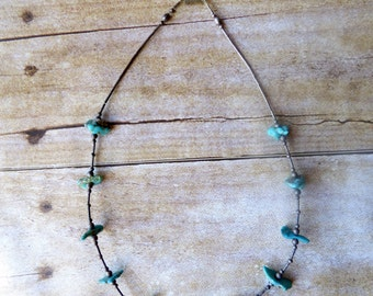 Turquoise and Silver Necklace - Boho - Hippy - 80's Surfer Girl