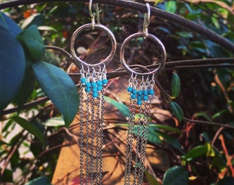 Sterling silver fringe earrings with turquoise