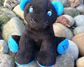 Plush Black Panther - Carolina Blue, Stuffed Black Panther