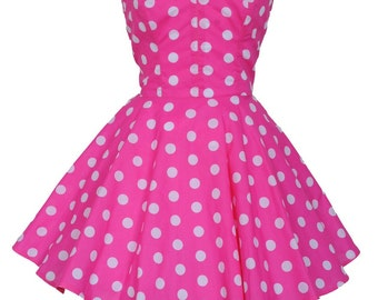 Clearance Sale Pin-up Pink Polka Dot Prom Party Dress