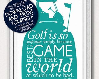 Printable Golf Quote Poster Art Father's Day Gift