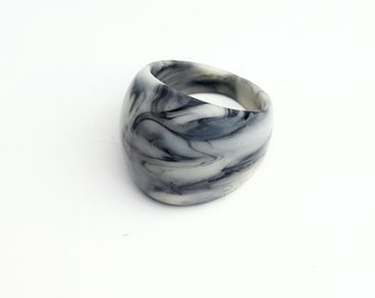 Grey Marble Resin Ring - Black and White Swirl - Handmade Ring - Gloss - Medium, Large Size - Statement Ring - One of a Kind Jewellery