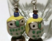 Yellow Owl Earrings, Ceramic Owl and Wood Bead Earrings, Owl Jewelry, Nickel-Free, Woodland Style, Forest Creatures, Owl Dangle Earrings