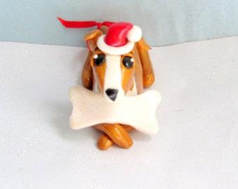 Greyhound Christmas Ornament Polymer Clay Dog Christmas Ornaments Italian Greyhound with Santa Hat Pet Ornament