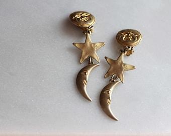90s sun, moon, stars, clip on gold dangle earrings