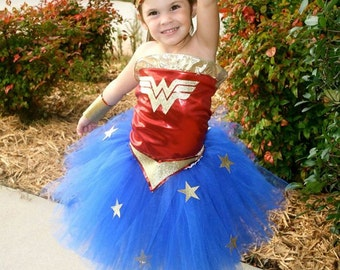 Girls Wonder Woman Inspired Tutu Dress Halloween Costume (Newborn - 5T)