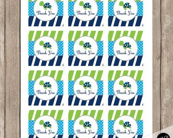 Sea Turtle favor tags, turtle favor tags, Thank You Tags, lime and navy, birthday baby shower, INSTANT DOWNLOAD