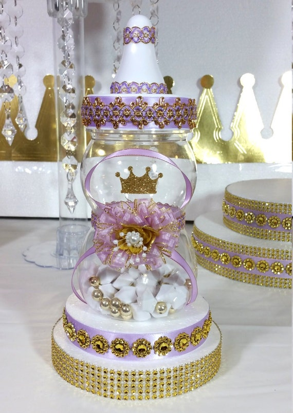 Lavender and gold baby shower centerpiece for girls