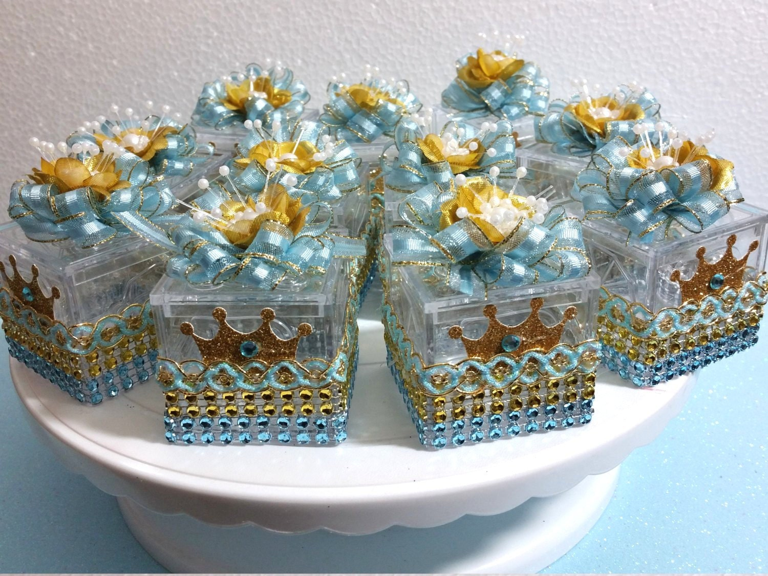 12 blue gold favors for boys prince baby shower baby
