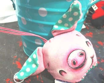 "Primitive Hanging Artists Doll Hand Painted One of A Kind ""The Mini Oddball"" ~ Piggy-Poo by Lizzy Love"