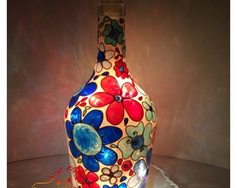 Flowers in a mosaic style painted Wine Bottle Light Lamp