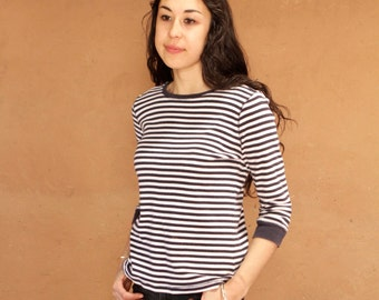 women's OXFORD striped 3/4 sleeve boat neck classic spring SUMMER shirt