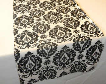 Damask Print Table Runner, READY to SHIP,  Black and White Runner, Wedding, Shower, Party, Home Decor, Custom Size Available