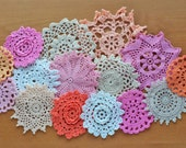 15 Craft Doilies, White, Pink, Peach, and Lilac Hand Dyed Vintage Crochet Doilies