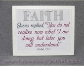 Faith Bible verse John 13:7 framed embroidery 8x10- ready to hang adjustable in color Christian encouragement gift God's Word