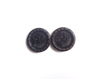 2 Black Wooden Buttons, Mickey Mouse Buttons