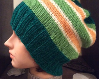 Green Striped Slouch Hat Green Slouch Hat Slouchy Hat Wool Slouch Hat