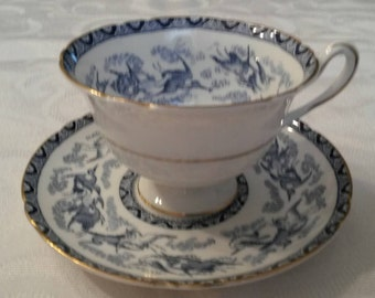 """Shelley Tea Cup and Saucer; Footed; Titled, """" Blue Heron""""  circa 1925-1940-  DR"""
