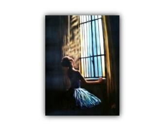 OilPaintingCanvas  ENLIGHTENMENT, OriginalOilOnCanvas  BalletPainting #ballerina #dancer #window #romantic #stain-glass #SignedByTheArtist