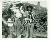 "Vintage Photo ""Grandma Photobomb"" Dog Animal Pet Snapshot Old Antique Black & White Photograph Found Photo Paper Ephemera Vernacular - 164"