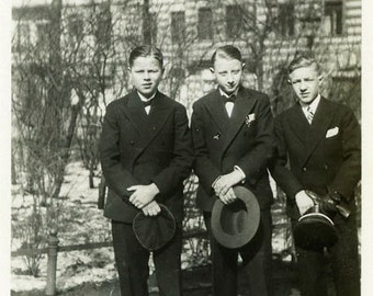 "Vintage Photo ""Holding Hats"" Boys Dressed Up Suit Snapshot Antique Photo Old Black & White Photograph Found Paper Ephemera Vernacular - 135"